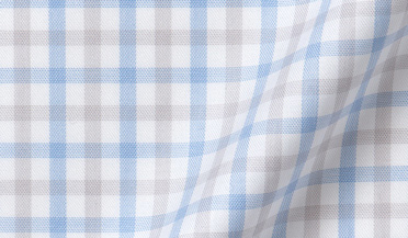 Custom shirt made with Mayfair Wrinkle-Resistant Grey and Light Blue Multi Check Fabric