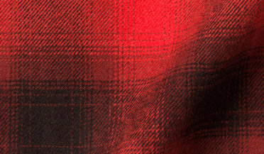 Fabric swatch of Scarlet and Black Ombre Plaid Flannel Fabric