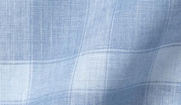 Fabric swatch of Light Blue Linen Plaid Fabric