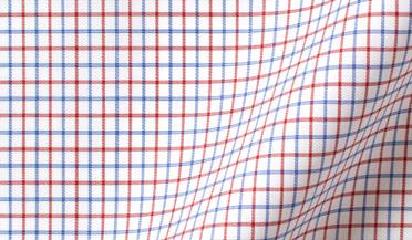 Fabric swatch of Thomas Mason Goldline Red and Blue Tattersall Fabric