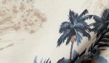 Custom shirt made with Albiate Faded Beige Aloha Print Fabric