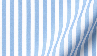 Fabric swatch of Stanton 120s Light Blue Wide Bengal Stripe Fabric