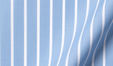 Fabric swatch of Stanton 120s Light Blue Wide Reverse Stripe Fabric