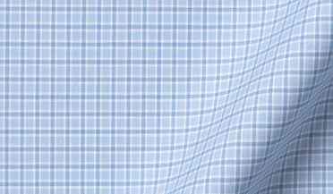 Fabric swatch of Thomas Mason Goldline Light Blue Small Check Fabric