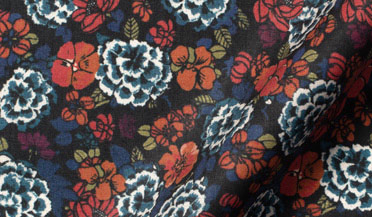 Custom shirt made with Albini Blue and Red Floral Print Fabric