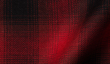 Fabric swatch of Scarlet Ombre Plaid Cotton Linen Blend Fabric