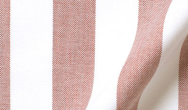 Fabric swatch of American Pima Red Wide Stripe Oxford Fabric