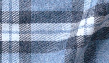 Custom shirt made with Canclini Blue Melange Tonal Plaid Beacon Flannel Fabric
