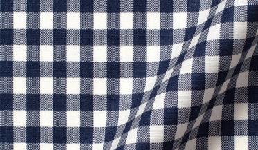 Fabric swatch of Reda Navy Gingham Merino Wool Fabric