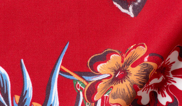 Custom shirt made with Albini Red Aloha Print Tencel Fabric