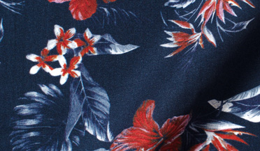 Custom shirt made with Albini Navy and Red Floral Print Tencel Fabric