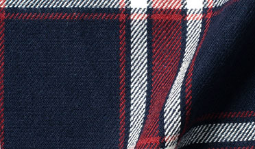 Custom shirt made with Japanese Washed Navy Red and White Country Plaid Fabric