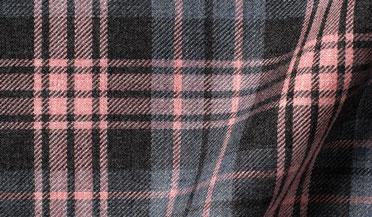 Custom shirt made with Satoyama Pink and Slate Plaid Flannel Fabric