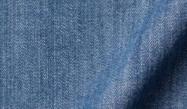 Fabric swatch of Albiate Washed Dark Indigo Heavy Denim Fabric