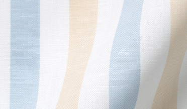 Custom shirt made with Portuguese Beige and Light Blue Wide Stripe Cotton Linen Oxford Fabric