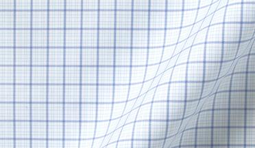 Fabric swatch of Thomas Mason Goldline Light Blue Multi Grid Fabric