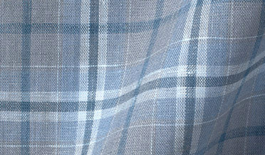 Custom shirt made with Portuguese Washed Slate and Light Blue Plaid Linen Fabric