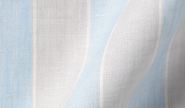 Custom shirt made with Portuguese Washed Grey and Light Blue Wide Stripe Linen Fabric