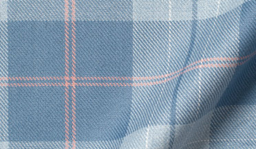 Custom shirt made with Portuguese Light Blue Large Melange Plaid Fabric
