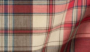 Red Ecru and Brown Indian Madras Fabric Sample