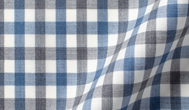 Custom shirt made with Reda Grey and Blue Melange Gingham Merino Wool Fabric