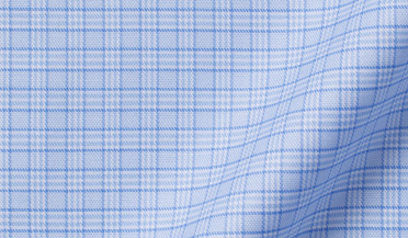 Fabric swatch of Non-Iron Stretch Light Blue Small Check Fabric