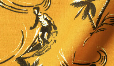 Custom shirt made with Albiate Yellow Vintage Aloha Print Fabric