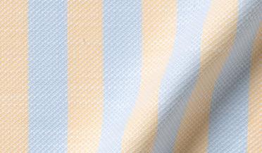 Custom shirt made with Amalfi Light Blue and Yellow Stripe Pique Fabric