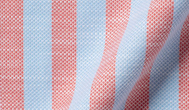 Custom shirt made with Amalfi Red and Light Blue Stripe Pique Fabric