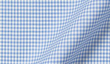 Custom shirt made with Reda Light Blue Gingham Merino Wool Fabric