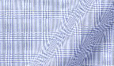 Custom shirt made with Reda Light Blue Glen Plaid Merino Wool Fabric