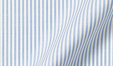 Custom shirt made with Reda Light Blue Stripe Merino Wool Fabric