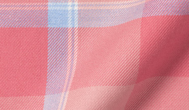 Custom shirt made with Portuguese Faded Rose and Light Blue Shadow Plaid Fabric