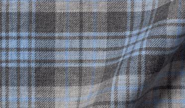 Custom shirt made with Satoyama Light Blue and Grey Plaid Flannel Fabric