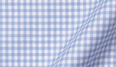 Fabric swatch of DJA Sea Island Light Blue Small Gingham Fabric