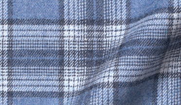 Custom shirt made with Canclini Glacier Blue Ombre Plaid Beacon Flannel Fabric