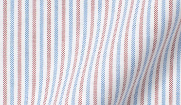 Fabric swatch of American Pima Red and Blue Stripe Heavy Oxford Fabric