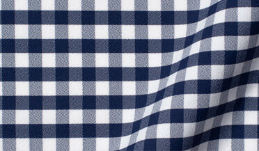 Performance Four Way Stretch Navy Blue Gingham Fabric Sample