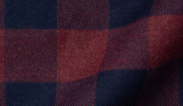 Custom shirt made with Teton Rust and Navy Gingham Flannel Fabric