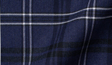 Custom shirt made with Tahoe Navy Plaid Stretch Flannel Fabric