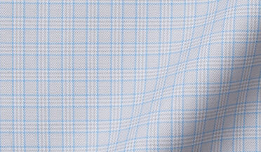 Non-Iron Stretch Light Grey and Blue Small Check Fabric Sample