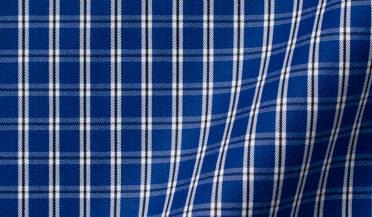 Thomas Mason Non-Iron Blue Small Check Fabric Sample