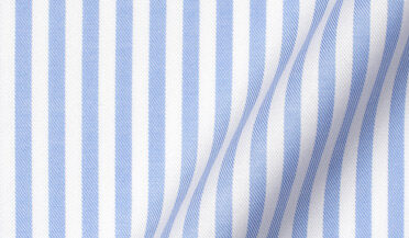 Custom shirt made with Non-Iron Stretch Light Blue Bengal Stripe Fabric