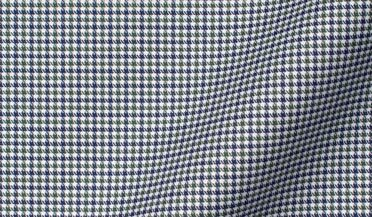 Non-Iron Stretch Green and Blue Houndstooth Check Fabric Sample