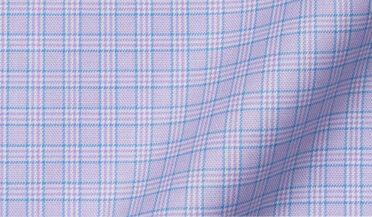Non-Iron Stretch Lavender and Blue Small Check Fabric Sample