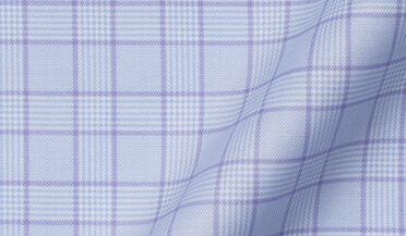 Custom shirt made with Non-Iron Stretch Lavender and Blue Glen Plaid Fabric