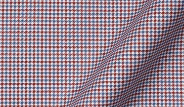 Non-Iron Stretch Red and Blue Houndstooth Check Fabric Sample