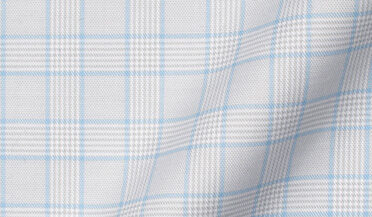 Non-Iron Stretch Grey and Light Blue Glen Plaid Fabric Sample