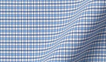 Performance Light Blue and Navy Small Check Fabric Sample