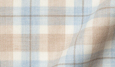 Custom shirt made with Beige and Frost Plaid Cotton and Wool Flannel Fabric